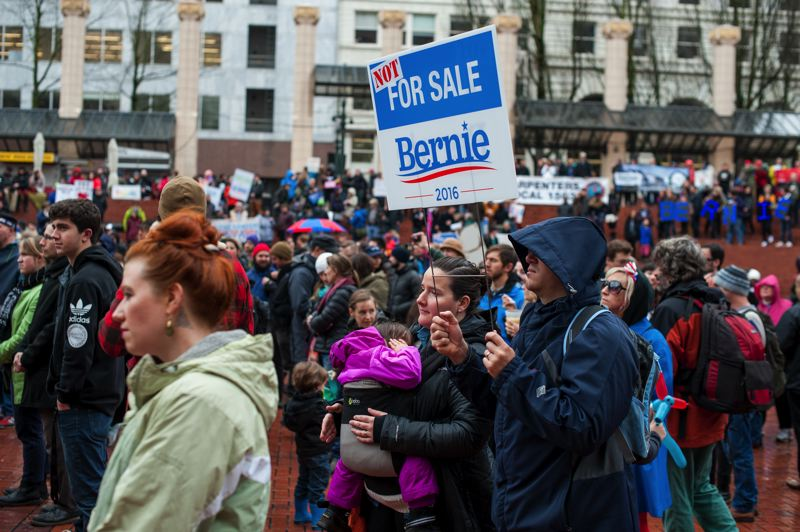 TRIBUNE PHOTO: DIEGO DIAZ - Several hundred people rallied Saturday afternoon in Pioneer Courthouse Square to support Vermont Sen. Bernie Sanders in his bid for the Democratic nomination for president.