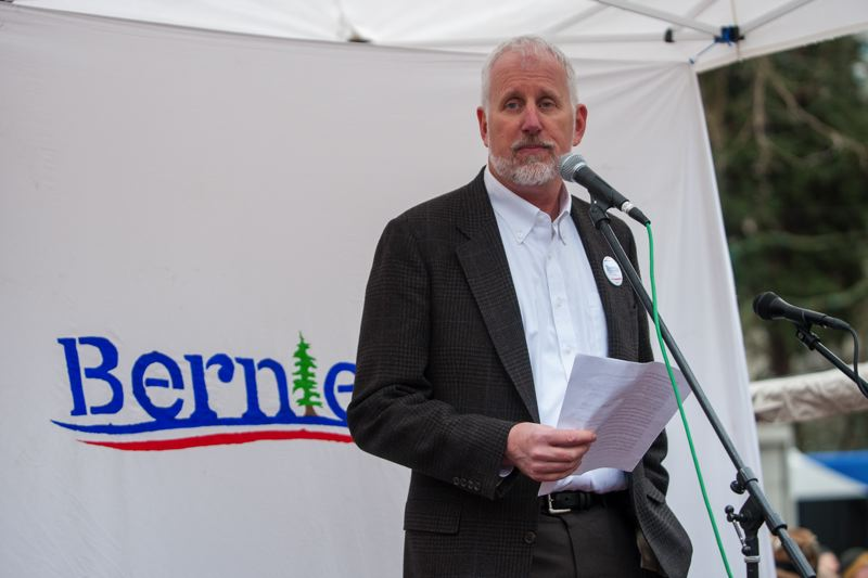 TRIBUNE PHOTO: DIEGO DIAZ - Milwaukie Mayor Mark Gamba told the crowd that he supports Sanders' run for the Democratic nomination for president.