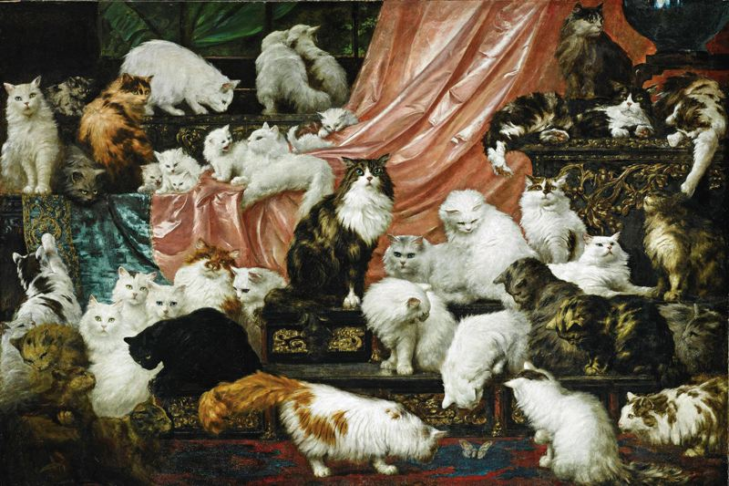 Portland Art Museum welcomes the famous cat painting My Wifes Lovers, by Carl Kahler.