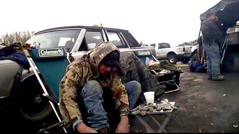 COURTESY PHOTO - Only four militants remained Thurdsay morning, Jan. 28, at the Malheur National Wildlife Refuge. The militants hoped to negotiate with FBI and law enforcement to leave the refuge without being arrested. This is a screenshot from Thursday morning's video update on DefendYourBase.