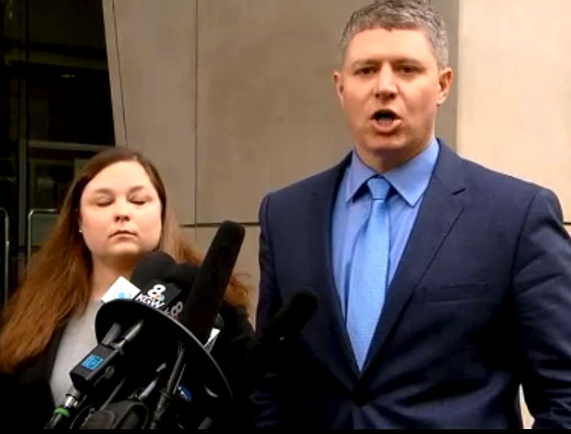 COURTESY OF KOIN 6 NEWS - Attorneys Lissa Casey and Mike Arnold of Eugene are defending Ammon Bundy in federal court. They told reporters Thursday morning outside the Mark O. Hatfield Courthouse in downtown Portland that Bundy wanted a peaceful resolution to the four-week standoff at the wildlife refuge.