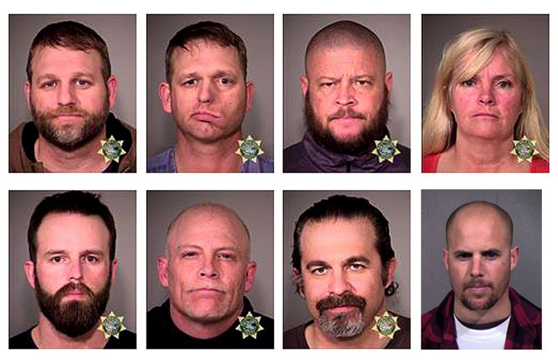 COURTESY OF MCSO; MARICOPA COUNTY SHERIFF'S OFFICE - Militants arrested Tuesday, Jan. 26, were (top row) Ammon Bundy, Ryan Bundy, Brian Cavalier, Shawna Cox, (bottom row) Ryan Payne, Joseph O'Shaughnessy and Pete Santilli. They are being held at the Multnomah County Detention Center. Jon Ritzheimer was being held in an Arizona jail, where he turned himself in Tuesday night in a Phoenix suburb.