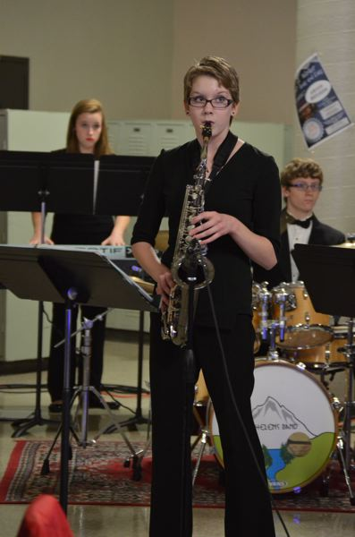 SPOTLIGHT PHOTO: NICOLE THILL - St. Helens High School student Amanda Click performs a solo during the jazz band performance on Saturday night. The concert had well over 120 attendees.