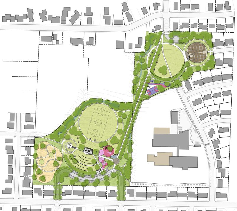 COURTESY: 2.INK STUDIO/PORTLAND PARKS & RECREATION - A design rendering of Loowit Park shows gathering spaces for users of all ages on 16 acres in Northeast Portland.