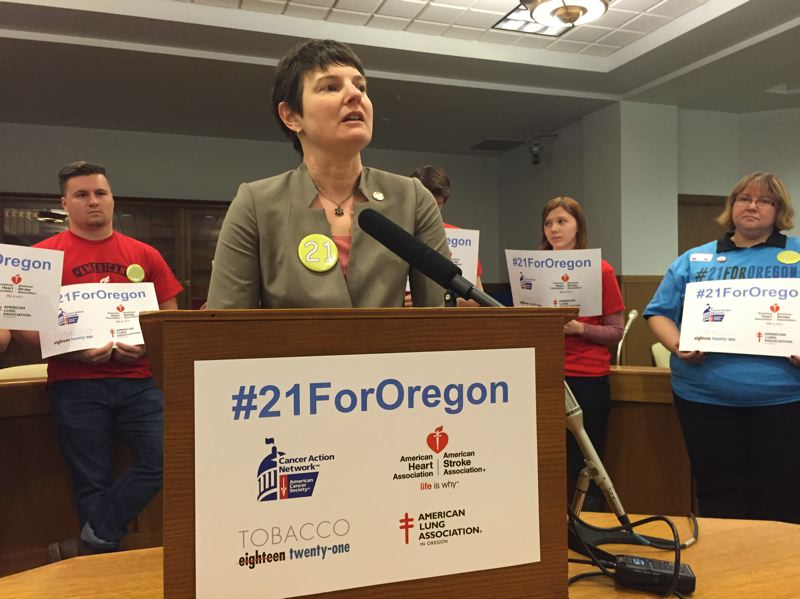 PARIS ACHEN - Senate Majority Whip Elizabeth Steiner Hayward, D-Beaverton, speaks at a campaign launch for 'Tobacco 21 for Oregon,' a coalition of 20 health organizations that want Oregon to raise the legal age to purchase tobacco to age 21