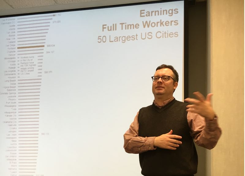 TRIBUNE FILE PHOTO - Portland is doing well - except in the $35,000 to $50,000 jobs category. The middle class is literally shrinking,  said Christian Kaylor, Oregon Employment Department workforce economist.