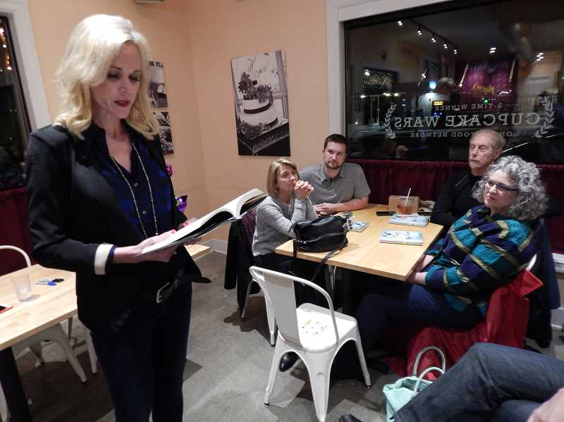 REVIEW, TIDINGS PHOTO: CLIFF NEWELL - Sheila Hamilton reads about the worst moment of her life to an audience at Kyras Bake Shop; the day she had to tell her daughter that her father had committed suicide.