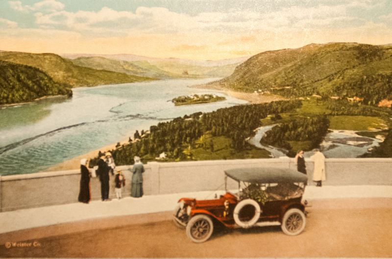 OUTLOOK PHOTO: JOSH KULLA - This vintage postcard shows the view east from the Vista House, a scene that todays viewer still will find quite familiar, save for the presence of Interstate 84.   6. This print of a 100-year-old photograph of the Historic Columbia River Highway adorns the wall at the Growler Garage in downtown Gresham.