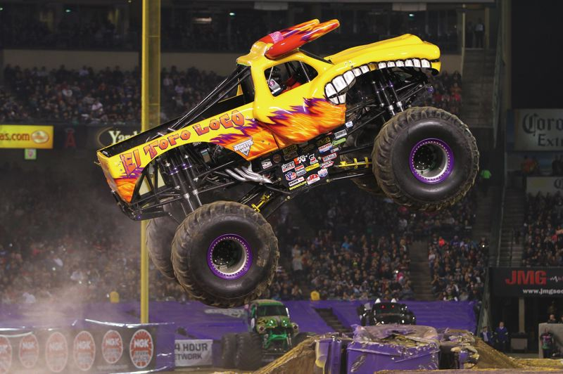 COURTESY PHOTO: MONSTER JAM - Kayla Blood took over from another woman, Becky McDonough, as pilot of El Toro Loco (top) in the Monster Jam series. Coming in as a rookie, you want to earn your respect from the veterans, she says.