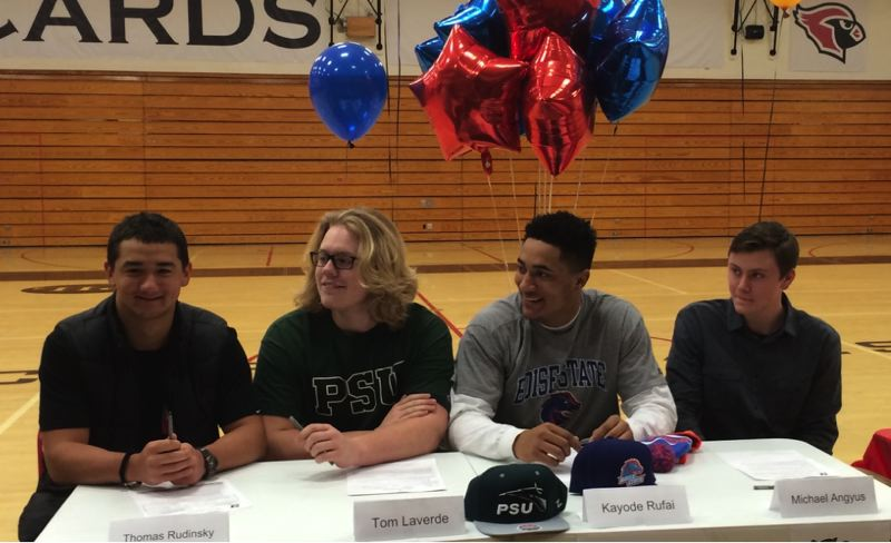 COURTESY: LINCOLN HIGH - Lincoln High athletes signing last week (from left) are Thomas Rudinsky (Lane Community College, baseball), Tommy Laverde (Portland State, football), Kayode Rufai (Boise State, football) and Michael Angyus (South Dakota School of Mines, football).