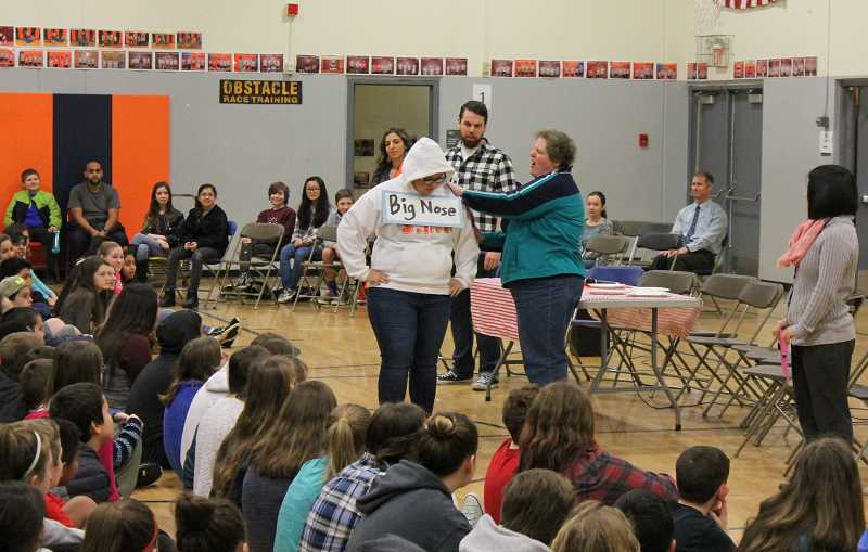 SPOKESMAN PHOTO: ANDREW KILSTROM - Wood's anti-bullying initiative started with an assembly featuring role-playing and discussion about hurtful labels and name-calling.