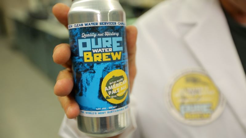 COURTESY: CLEAN WATER SERVICES  - Canned beer brewed from water treated by Clean Water Services in Washington County.