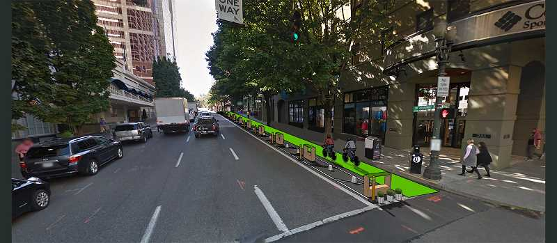 COURTESY: PORTLAND OFFICE OF TRANSPORTATION  - PBOT's permitted demonstration of protected bike lanes on Thursday will run from 6 a.m.-7 p.m. on Southwest Broadway, between Taylor and Salmon streets. It will occupy the on-street parking lane for the day.