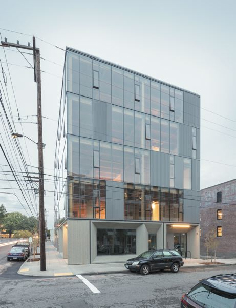 COURTESY: JOSHUA JAY ELLIOTT - The Central Eastside Industrial Areas Framework won the WoodWorks 2016 award for commercial wood design. Its a five-story timber-frame building wrapped in a glass facade. Framework was completed in 2015.