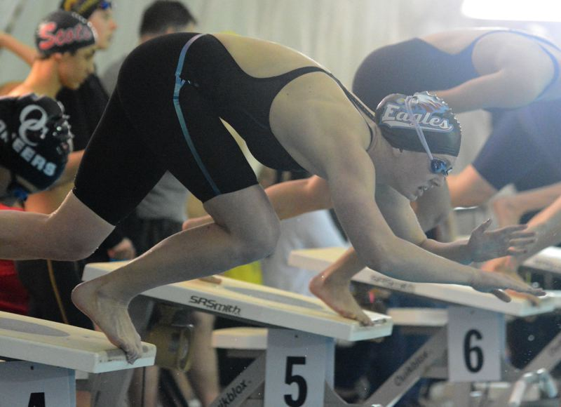 THE OUTLOOK: DAVID BALL - Centennial's Jamie Stone leaves the blocks on her way to a start-to-finish win in the 50 freestyle.