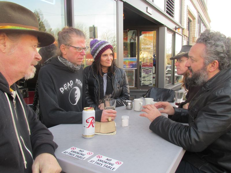 PAMPLIN MEDIA GROUP: SHANNON O. WELLS - Clockwise from left, Dave Reisch, Christopher Webster, Tracy Lowman, Lewi Longmire and Fernando Viciconte commiserate about the recent loss of Jimmy Boyer, their longtime friend and musical inspiration.