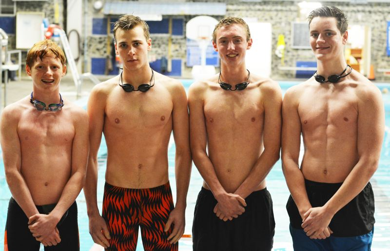 SPOTLIGHT PHOTO: JAKE MCNEAL - From left, Indians sophomore Justin Melling, seniors Trace Sweeney and Matthew Kulp and junior Austin Sharp qualified for Friday and Saturday's OSAA Class 4A/3A/2A/1A Swimming Championships with a season-best 1 minute, 41.74 seconds - within a second of the 200-yard freestyle school record of 1:40.31 - at the District 1 Championships on Saturday at the Astoria Aquatic Center.