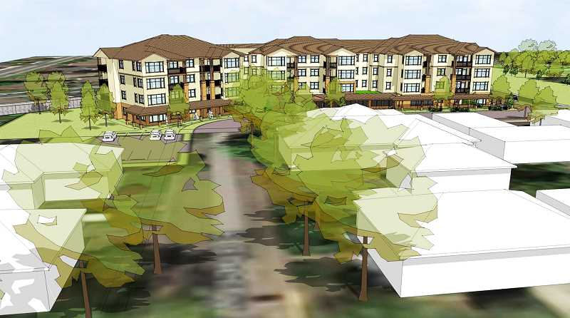 SUBMITTED - The view north down Center Street will look a lot different in the coming years as Friendsview Retirement Community begins a major expansion known as University Village. The light-colored buildings in the foreground are houses that will be removed for the project.