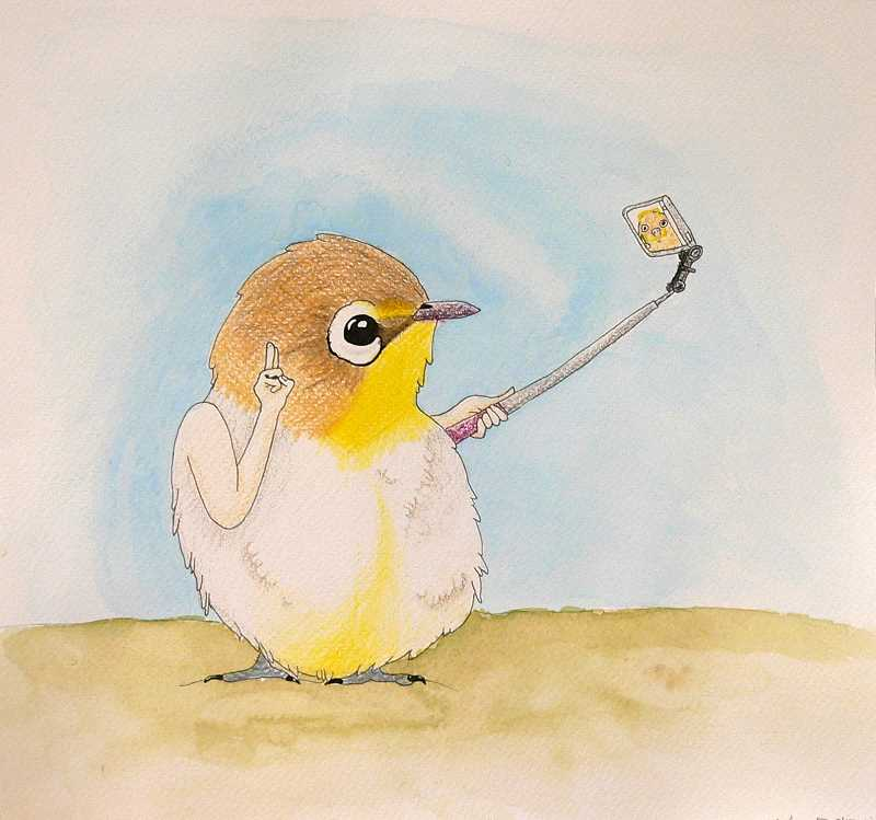 CONTRIBUTED PHOTO - Mia Borcherd's piece, which won a Gold Key for Drawing & Illustration, features a bird with human arms using a selfie stick.