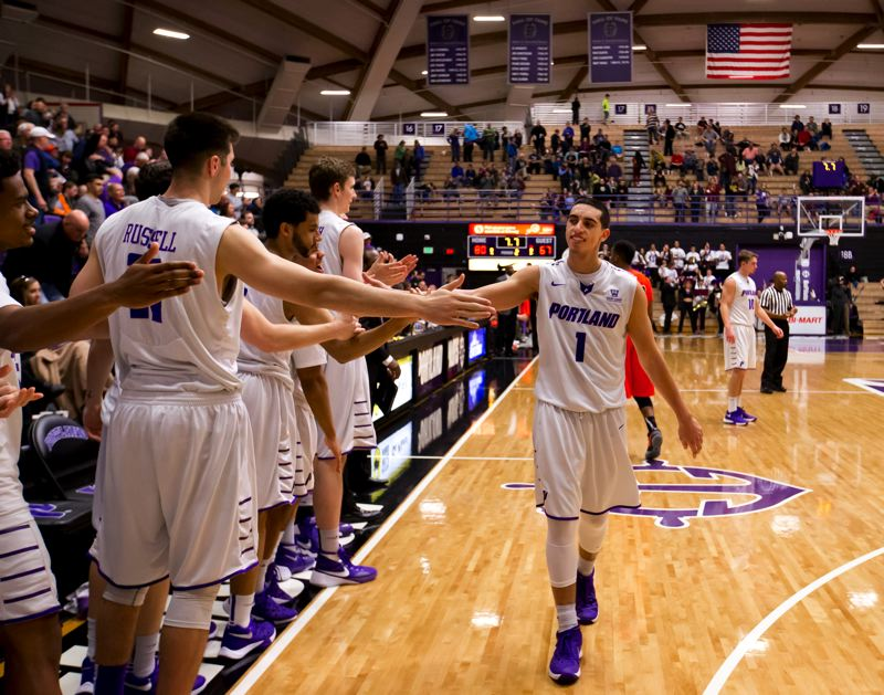 COURTESY: STEVEN GIBBONS - University of Portland's Bryce Pressley is introduced on Senior Night as Chiles Center, before the Pilots' 80-67 victory Saturday night over Pacific.