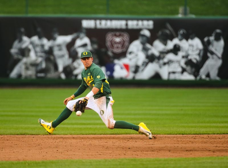 COURTESY: UNIVERSITY OF OREGON - Oregon Ducks infielder Mark Karaviotis makes a play in a game last season. Nationally ranked Oregon opens its home season with a series this week against Illinois State. The opener is 6 p.m. Thursday at PK Park.