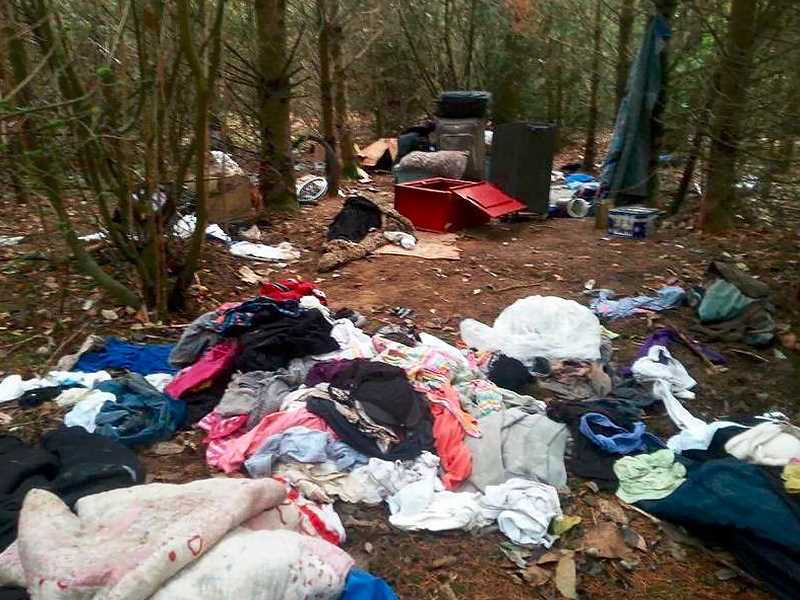 OUTLOOK PHOTO: JOSH KULLA - This abandoned campsite is typical of dozens of similar sites found and cleared in the 60-acre Gresham Woods open space just south of Southeast Powell Boulevard.