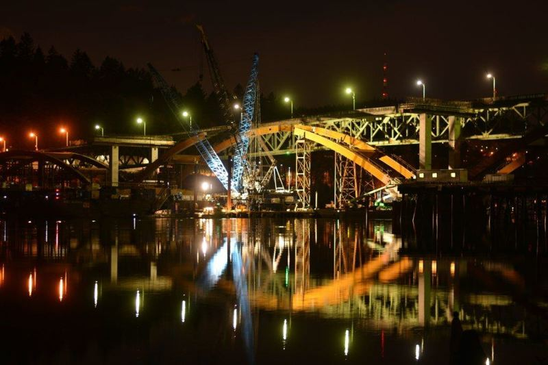 COURTESY PHOTO: MULTNOMAH COUNTY - Construction on the new steel deck arch bridge began in December 2011. It should be completed by November 2016.