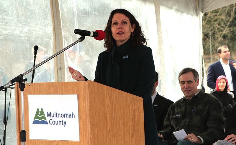 TRIBUNE PHOTO: DAVID ASHTON - Multnomah County Chair Deborah Kafoury was one of several speakers who talked about the importance of the new Sellwood Bridge.