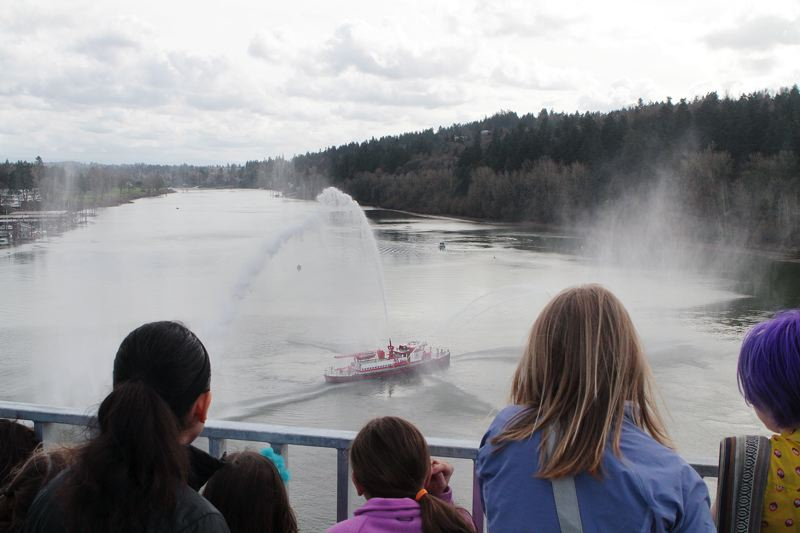 TRIBUNE PHOTO: DAVID ASHTON - A Portland Fire & Rescue boat joined Saturday afternoon's celebration of the new Sellwood Bridge.