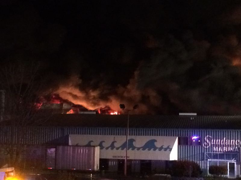 PORTLAND FIRE & RESCUE - A storage warehouse at the Sundance Marine was consumed by flames.