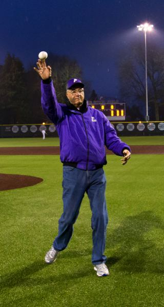 COURTESY: STEVE GIBBONS - Joe Etzel, former Portland Pilots player, coach and athletic director, throws out the first pitch before UP takes the field for the first night game at Joe Etzel Field.