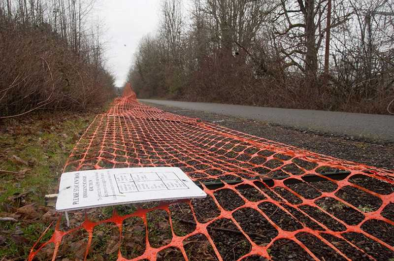 OUTLOOK PHOTO: JOSH KULLA - Hundreds of yards of fence along the Springwater Corridor Trail was in ruins Monday after vandals knocked it down. The fence was meant to protect the 60-acre Gresham Woods area from camping, vandalism and other crime.
