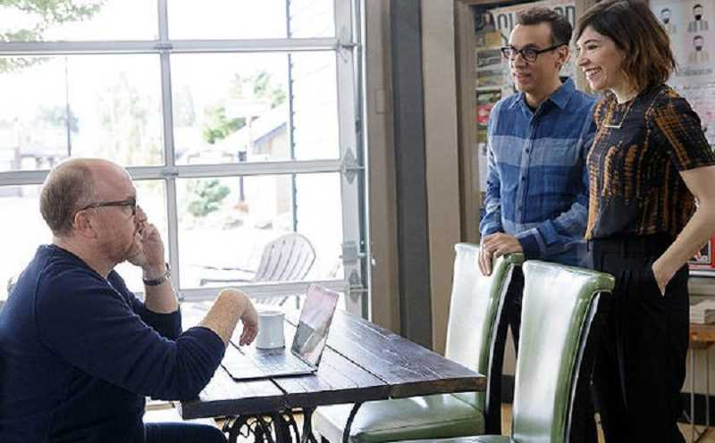 PHOTO COURTESY IFC - Comedian Louis C.K.'s phone call is interupted by Fred and Carrie on this week's episode of Portlandia, which was filmed in Tigard.