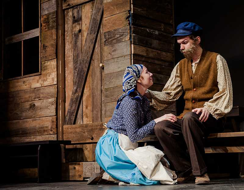 CONTRIBUTED PHOTO: KAREN HAWLEY  - Jessie Turner, left, plays Tzeitel, the daughter of Tevye, played by Isaiah Johnson, in Corbett Children's Theater's production of Fiddler on the Roof.