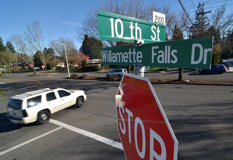 TIDINGS PHOTO: VERN UYETAKE - 10th Street and Willamette Falls Drive is a particular hotspot for accidents in West Linn. Some refer to Willamette Falls Drive as the unofficial third lane of Interstate 205.