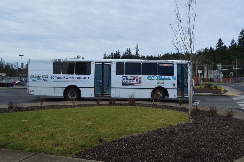 SPOTLIGHT FILE PHOTO - A CC Rider bus waits to depart from the transit yard in St. Helens. Recently, the bus agency has been testing out alternate routes and departure times to and from Portland.