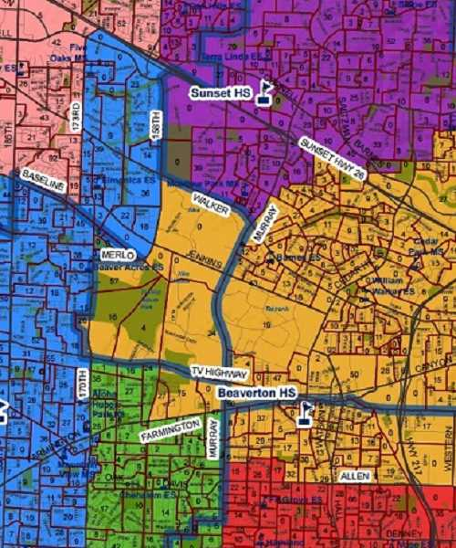 (Image is Clickable Link) Latest revision to the Beaverton School District's potential high school boundary map.