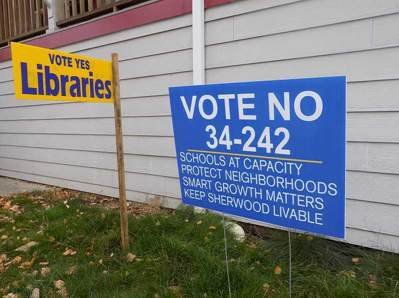 GAZETTE FILE PHOTO: RAY PITZ - While not as numerous as signs supporting the measure, No on the Brookman Annexation signs could be seen around town.