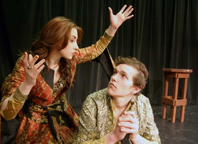 SUBMITTED PHOTO - Tigards Jaiden Wright in a scene with Tristan Avery of West Linn in PCCs The Arabian Nights in production March 4-13 at the Sylvan Campus Performing Arts Center.