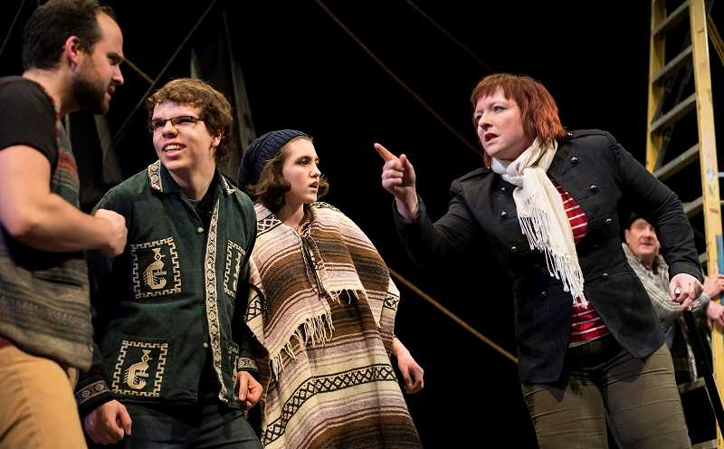 COURTESY PHOTOS - Gaston High School student Dawson Oliver (second from left) plays a harpooner in Bag&Baggage Productions Moby Dick, Rehearsed.