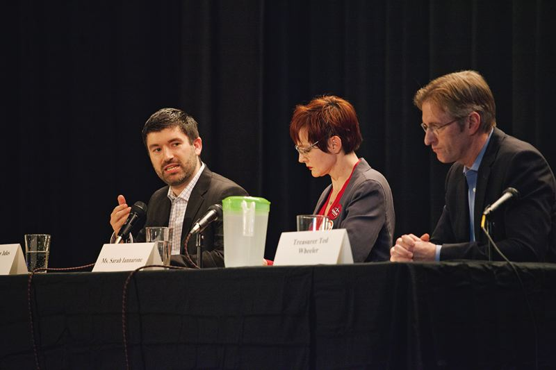 PORTLAND TRIBUNE: ADAM WICKHAM - The top three candidates for Portland mayor are widely considered to be (from left) Multnomah County Commissioners Jules Bailey, Sarah Innarone and State Treasurer Ted Wheeler. They are shown here at the March 3 environmental debate.