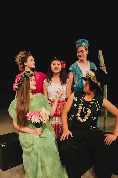 SUBMITTED PHOTO  - Clockwise from left are: Addie Stouder as Asaka, Lauren Arant as Erzule, Sharon Baik as Ti Moune, Evan Shenk as Agwe and Radley Castillo as Papa Ge in Once on This Island.
