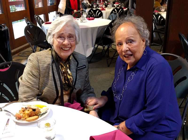 REVIEW PHOTO: ANTHONY MACUK - Cecelia Ranger, former Provincial Superior of the Sisters of the Holy Names (left), sits with her long-time friend, Dee Denton. In her remarks Sunday, Ranger called Denton 'The Mother Superior of Lake Oswego.'
