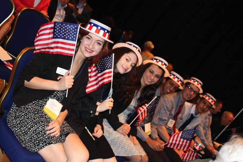COURTESY PHOTO: KRISTI WILSON - Hillsboro's Youth Advisory Council showed off its patriotic spirit at the League of Oregon Cities conference in Washington, D.C., from March 5 to March 9.
