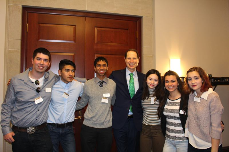 PHOTO COURTESY: KRISTI WILSON - The Youth Advisory Councils student delegation also got to meet Oregon senators Jeff Merkley and Ron Wyden (pictured) while in the nation's capital.