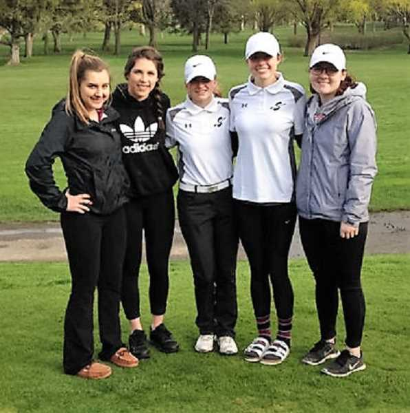 COURTESY PHOTO: JOE GIRRES - The Scappoose girls' golf team won the first Cowapa League meet of the year with a 247 on Thursday at Quail Valley Golf Course in Banks.