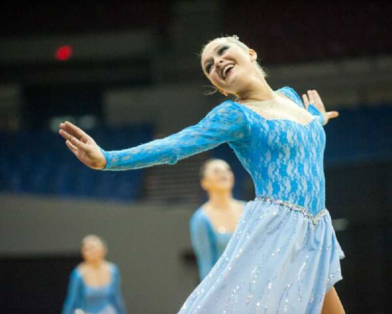 PAMPLIN MEDIA GROUP PHOTO: JOSH KULLA - Lakeridge High's Kenzie Hudler strikes a graceful pose during last week's competition, where the Pacers finished in 11th place.