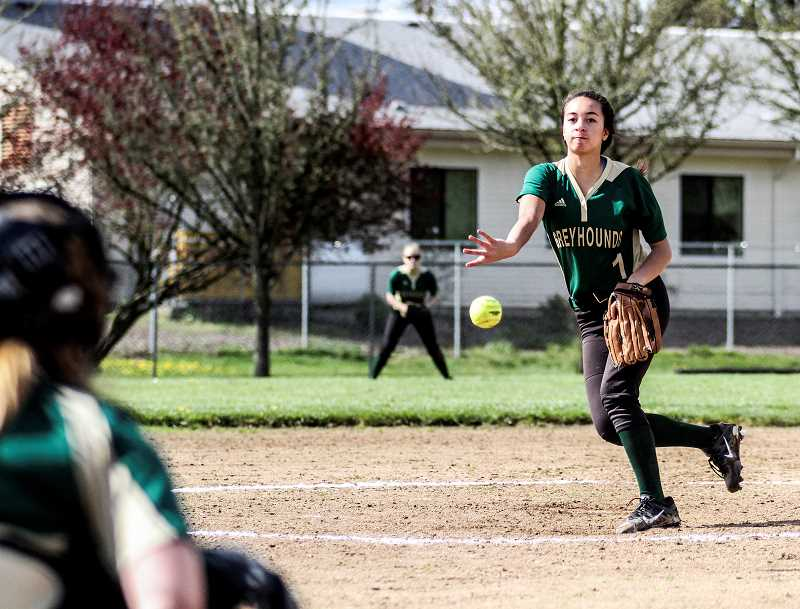 NEWS-TIMES PHOTO: AMANDA MILES - Charity Hall pitched a number of innings for Gaston last year and is already stepping into a leadership role this season as a sophomore.