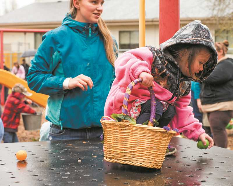 On Easter weekend, youngsters of all ages turn out to hunt eggs throughout town, rain or shine.
