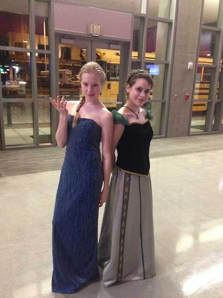 SUBMITTED PHOTO - Seniors Sam Wolf, left, and Selah Crisp plan to dress as icy Elsa and plucky Anna from 'Frozen' for the Lakeridge fashion show.